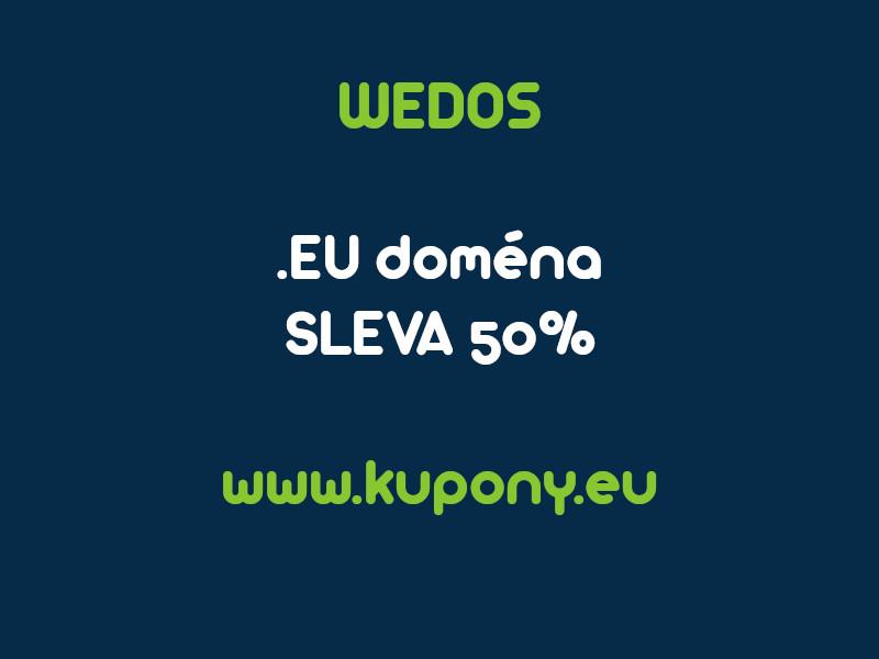 Wedos doména EU sleva 50%, slevový kupon na registraci domény EU